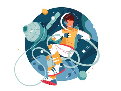 Astronaut connect wires in outer space checklist pencil character spacesuit astronaut space kit8 flat vector illustration