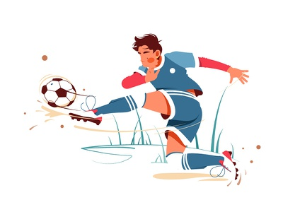 Football player kicking ball kit8 flat vector illustration soccer character ball kick player
