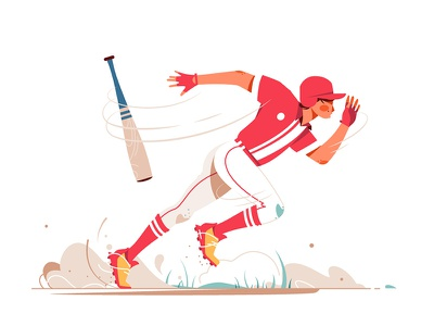 Baseball player running to base kit8 flat vector illustration character ball running player baseball