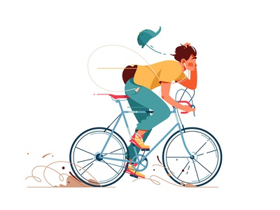 Man rides bicycle kit8 flat vector illustration character boy rides bicycle man