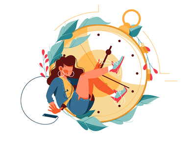 Woman kills time using smartphone kit8 vector illustration busy flat character clock time girl
