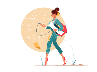 Businesswoman going to work thinking about business kit8 vector illustration busy flat character graphs work girl