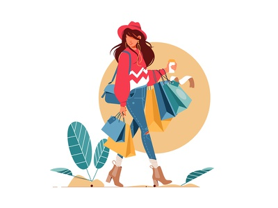 Woman holding packages after shopping kit8 flat vector illustration character fashion going bags woman shopping