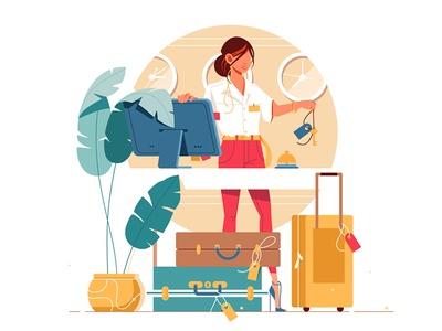 Woman working on hotel reception kit8 flat vector illustration bag character reception hotel woman