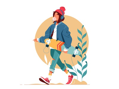 Girl walking outside kit8 flat vector illustration character outside walking woman