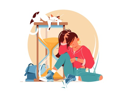 Girl waiting for something kit8 flat vector illustration character cat hourglass waiting woman