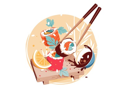 Sushi delicious fresh japan cuisine food japan kit8 flat vector illustration cuisine chinese sushi