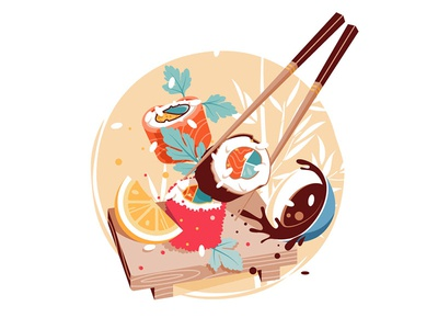Sushi delicious fresh japan cuisine food japan kit8 flat vector illustration cuisine chinese sushi