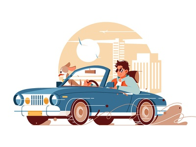 Man with dog go on trip by car kit8 flat vector illustration character dog travel trip car man