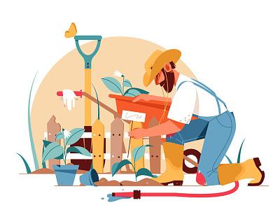 Bearded man gardening kit8 flat vector illustration character gardening man