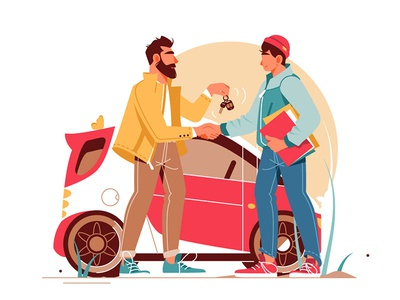 Man giving keys to young man making car deal kit8 flat vector illustration character deal keys car man
