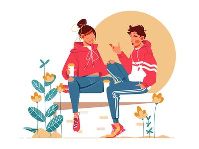 Sweet couple talking sitting on bench
