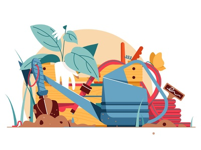 Various tools for garden care kit8 flat vector illustration tools gardening garden