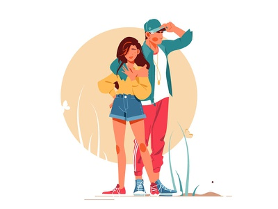 Girl and boy posing in stylish outfits kit8 flat vector illustration outfits posing boy girl woman man couple