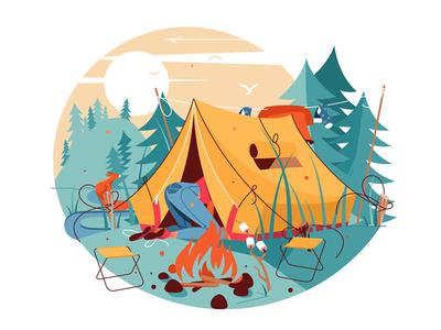 Woman searching in hike tent near bonfire