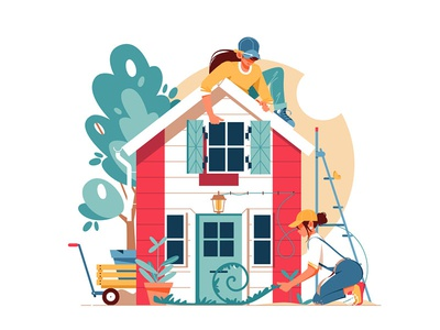 Two woman building a house