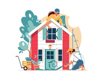 Two woman building a house kit8 flat vector illustration facade character woman house building