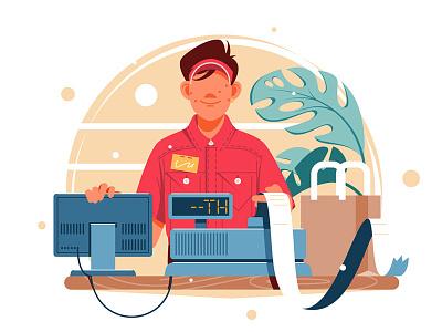 Young smiling man and cash register kit8 flat vector illustration checkout shop supermarket market character cash register man