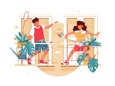 Girl and guy on balcony play badminton monaco plant flatvector flatstyle balcony guy man play self-isolation sport badminton design girl woman character vector illustration flat kit8