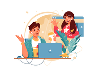 Distance video call communication two commenucation connection friends workplace teamwork covid19 self-isolation chat comference video call flat girl man woman character vector illustration kit8