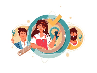 Candidate searching, HR managers staff approved magnifying glass magnager search candidate icon design girl woman character vector illustration flat kit8