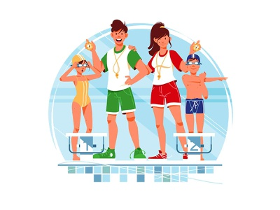 Coaches and swimmers - Swimming competition start competition sportsware swimmingpool pool sport swimming swim boy girl man woman character vector illustration kit8 flat