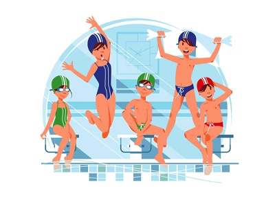 Kids Swimming competition group smile happy swimmingpool pool competition swimming swim sport kids kid boy girl character vector illustration kit8 flat