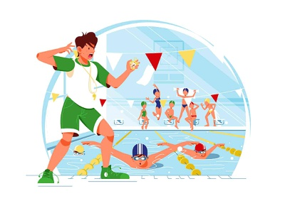 Swimming coach with timer race fan finish start boy kids kid pool timer coach swim design girl man woman character vector illustration kit8 flat