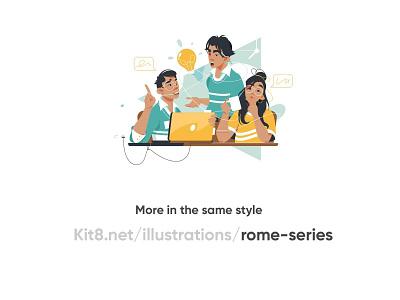 Group of people discuss the idea character design teamwork descuss business design man girl woman character vector illustration kit8 flat