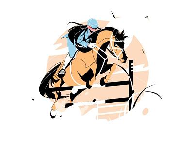 Woman jockey riding horse character design outside jump sport ride horse girl woman character vector illustration kit8 flat