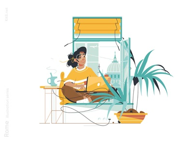 Woman sitting on sill illustration remote home office workplace work beverage drink laptop rome room window girl woman character vector illustration kit8 flat