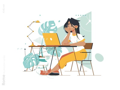 Woman waiting message at laptop illustration lamp plant workplace workspace work table waiting laptop girl woman character vector illustration kit8 flat
