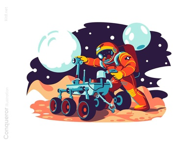 Astronaut fixing a machine illustration outerspace man character vector illustration kit8 flat