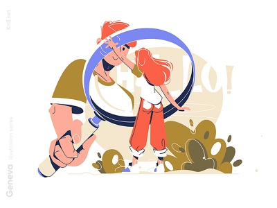 Under magnifying glass magnifying glass man woman character vector illustration kit8 flat