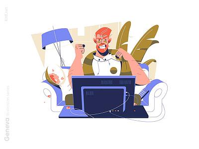Sports fan character watching game illustration gamefan man character vector illustration kit8 flat