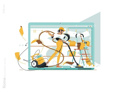 Cleaning information on pc illustration vacuum woman character vector illustration kit8 flat