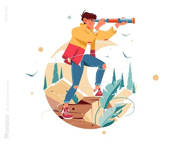 Traveler watching spyglass illustration travel spyglass nature forest man character vector illustration kit8 flat