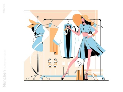 Stylish woman in boutique illustration style hat boutique shopping shop fasion woman character vector illustration kit8 flat