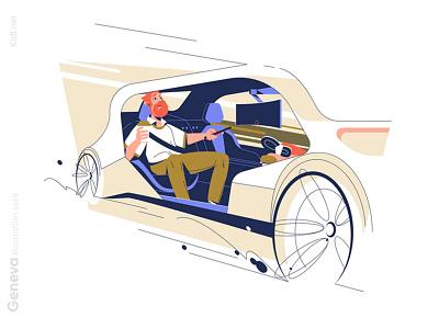 Autonomous car illustration comfort coffee rest pilot auto self driving autonomou car man character vector illustration kit8 flat