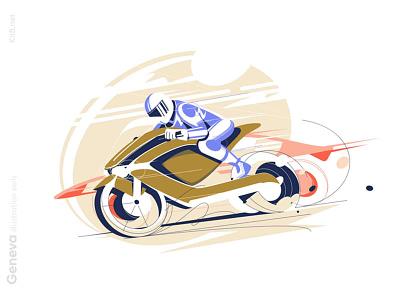 Racing motorcycle illustration motobike bike racing motorcycle moto motosport sport man character vector illustration kit8 flat