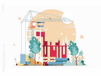 Construction animation web animation json lottie video crane building construction aftereffects animation kit8 flat