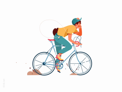 Man rides bicycle Lottie Animation music side drive hat mp4 json lottie after effects motion animation rides bicycle character vector illustration flat kit8