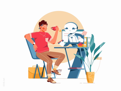 Robot helps man Animation motion mp4 after effects json lottie cafe drink android bot assist help robot man character vector illustration flat kit8