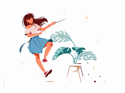 Girl with magic wand Lottie animation mp4 json lottie after effects animation motion plant pot wand magic woman character vector illustration flat kit8