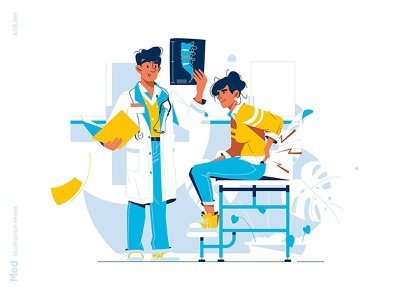 Doctor inspect x ray of patient Illustration pain back patient x ray doctor medicine man woman character vector illustration flat kit8