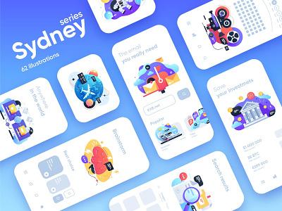 Sydney illustration series design web app money dusiness transport science cinema finance data series collection interface mobile ui character vector illustration flat kit8