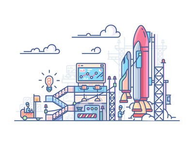 Startup rocket launch stages process business workplace launch rocket startup illustration vector flat line kit8
