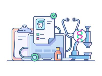 Medical accessories microscope stethoscope holder care health accessories medicine illustration decor flat kit8