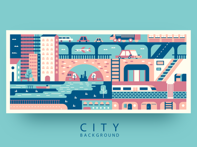 The City scape road cars traffic city pattern background abstract illustration vector flat kit8