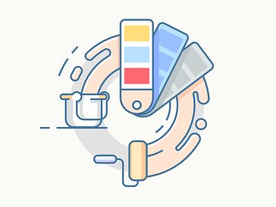 Palette swatches paint bucket palette color illustration line vector flat kit8